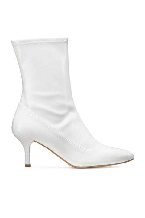 Footwear, White, Shoe, Boot, High heels, Beige, Leather,