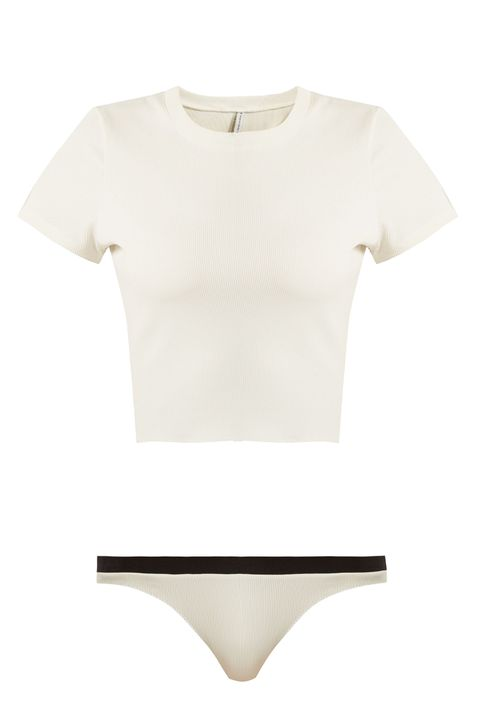 Clothing, White, Product, T-shirt, Beige, Sleeve, Crop top, Top, Neck, Blouse,
