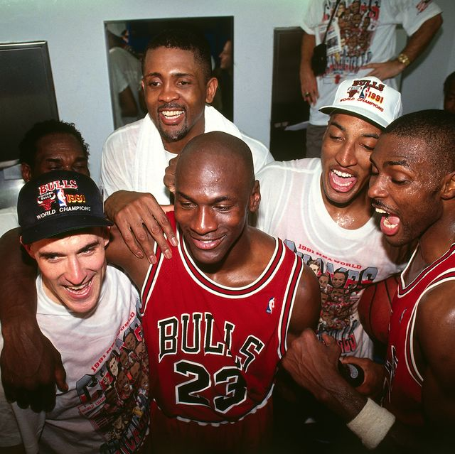 inglewood, ca  june 12 michael jordan 23 of the chicago bulls celebrates following game five of the 1991 nba finals on june 12, 1991 at the great western forum in inglewood, california note to user user expressly acknowledges and agrees that, by downloading andor using this photograph, user is consenting to the terms and conditions of the getty images license agreement mandatory copyright notice copyright 1991 nbae photo by andrew d bernsteinnbae via getty images