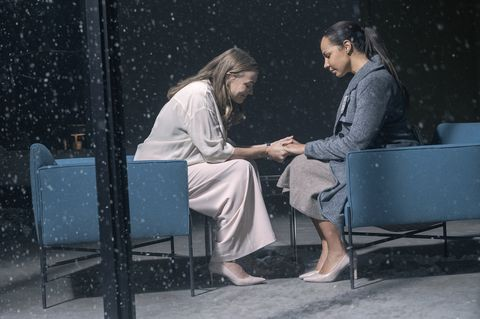 """the handmaid's tale    """"milk""""   episode 404    june takes a harrowing journey with janine, trying to escape gilead, as janine remembers a stressful experience in her past in toronto, serena tries to manipulate rita, who seeks advice from moira serena waterford yvonne strahovski and rita amanda brugel, shown photo by sophie giraudhulu"""