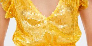 top amarillo lentejuelas zara vaqueros pantalones blancos