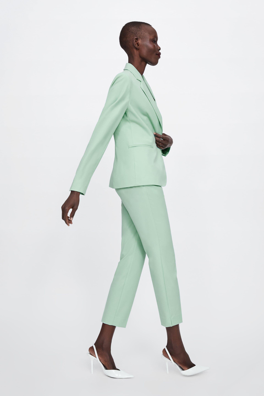 traje zara mujer verde