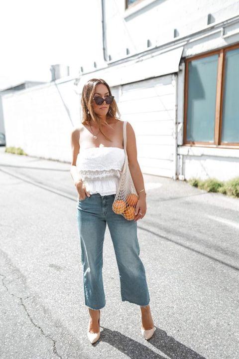 White, Jeans, Clothing, Shoulder, Denim, Street fashion, Waist, Joint, Beauty, Fashion,