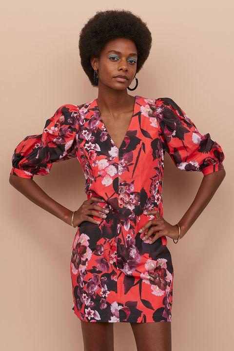 El Vestido Corto De Flores Y Mangas Abullonadas De Hm Más