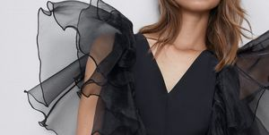 vestido corto fiesta organza manga capa barto zara