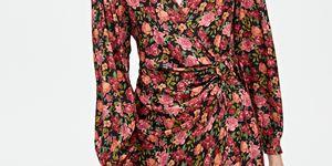 vestido corto manga larga flores barato pullandbear
