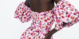 vestido corto fiesta mangas abullonadas flores barato zara