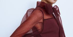 vestido corto organza lazo zara