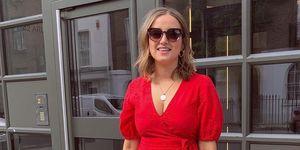 vestido rojo cruzado mangas barato amazon find instagramer talla media grande