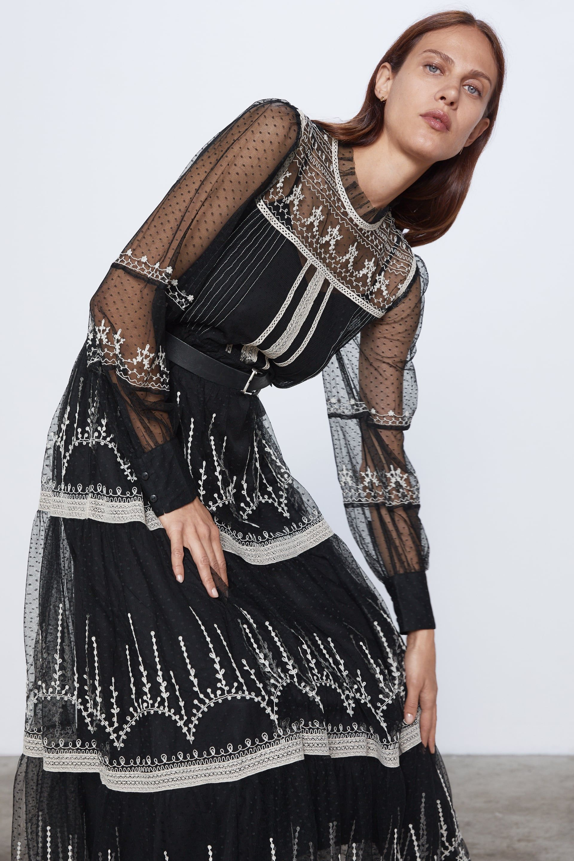 zara vestido largo negro transparencia
