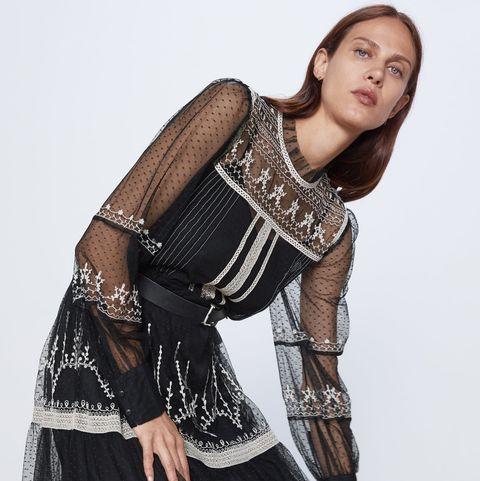 Venta caliente 2019 variedad de estilos de 2019 gran selección El vestido largo de plumetti y bordados de Zara del otoño