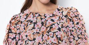 vestido largo flores manga larga zara