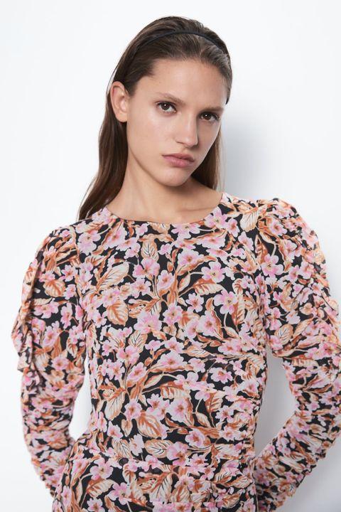 nueva llegada seleccione original descuento especial de El vestido midi de manga larga y flores de Zara-Vestido de Zara