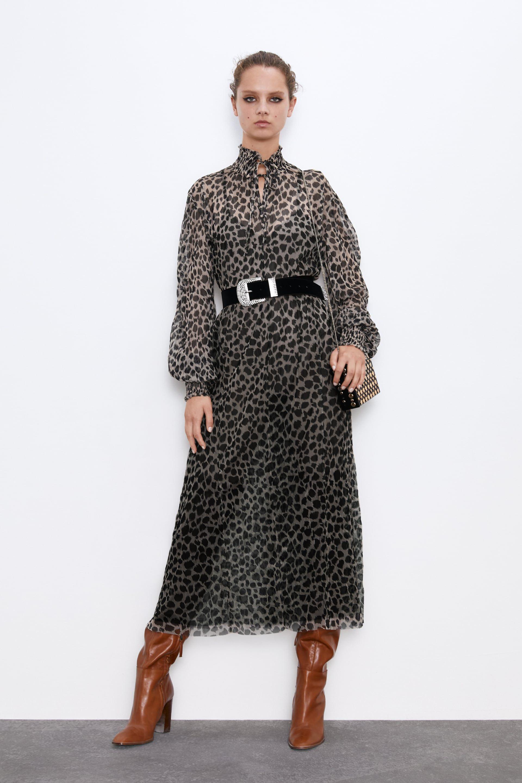 Y Tul Leopardo De El Vestido Largo Zara Botas XOkZiuPT