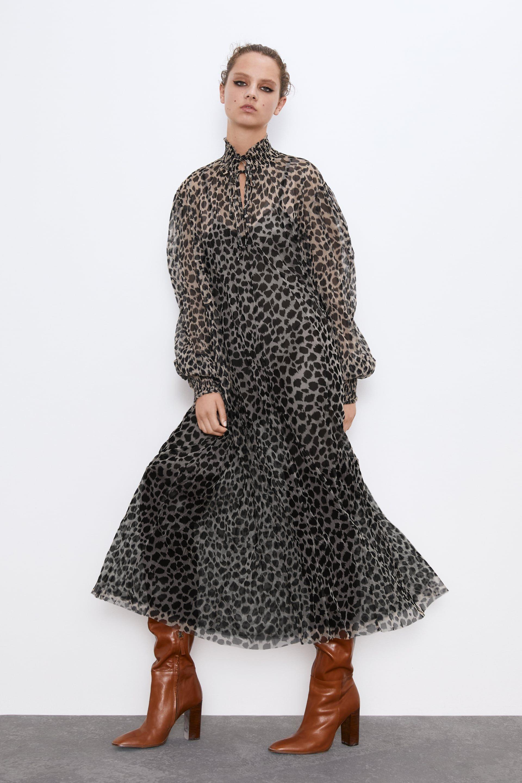 zara vestido leopardo largo