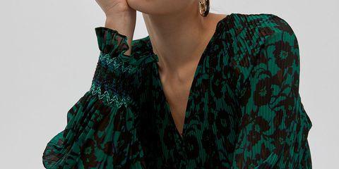 vestido largo manga larga plisado barato sfera