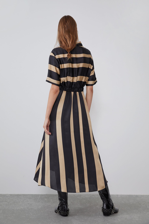 vestido de rayas zara marron y negro