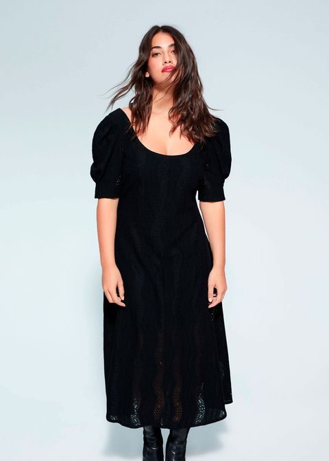 El Vestido Midi Negro Talla Grande De Rebajas De Violeta By Mango