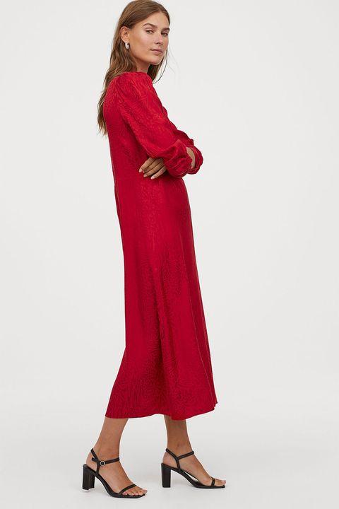 gran venta proveedor oficial nueva colección Este vestido rojo drapeado de manga larga de H&M es lo mejor