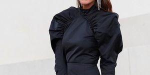 vestido corto fiesta negro mangas abullonadas sfera barato