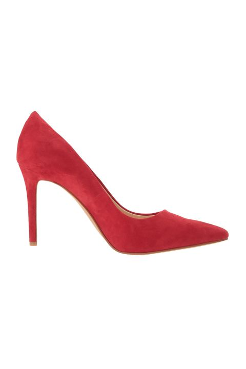 Footwear, High heels, Red, Court shoe, Shoe, Leather, Basic pump, Suede, Slingback, Beige,