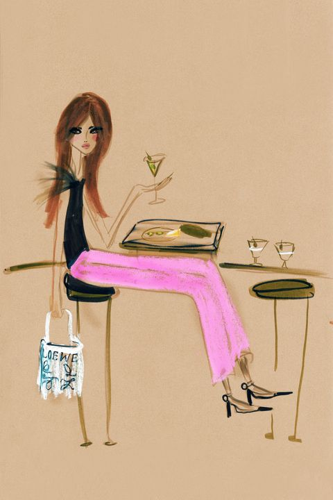 Pink, Sitting, Illustration, Fashion illustration, Table, Material property, Leg, Drawing, Art, Fashion design,