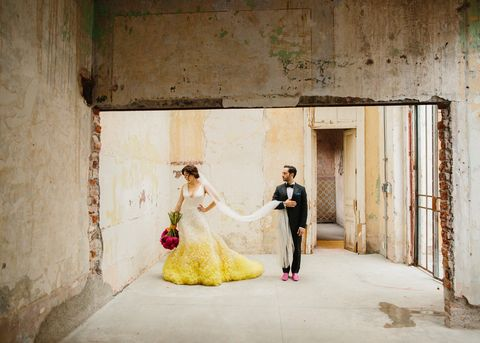 Photograph, Bride, Yellow, Dress, Wedding dress, Ceremony, Gown, Photography, Wedding, Bridal clothing,