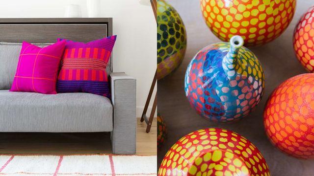 bright pink, orange, purple pillows and multi color vases