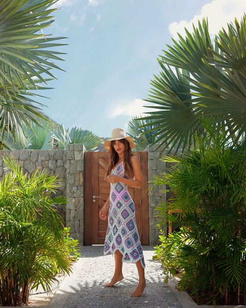 Clothing, Dress, Palm tree, Tree, Turquoise, Yellow, Summer, Vacation, Shoulder, Fashion,