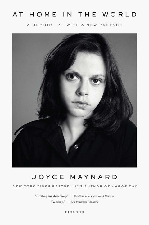 the cover of joyce maynard's memoir at home in the world features a black and white photo of her
