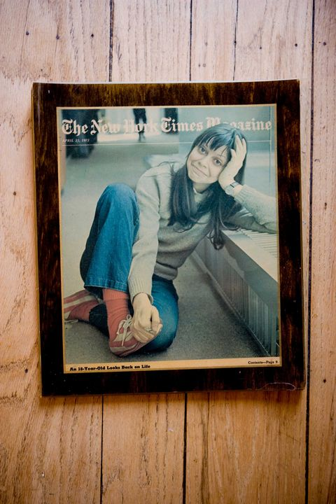 a framed copy of joyce maynard's 1972 new york times magazine cover