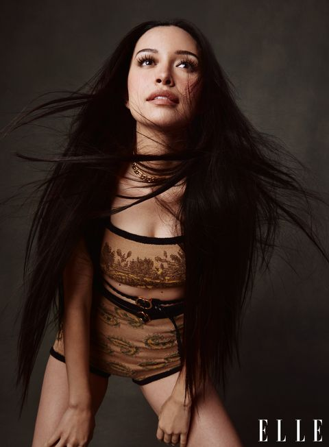 christian serratos let's her hair down