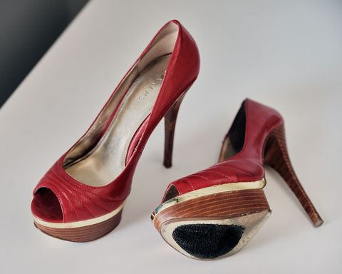 lundstrom keeps the red high heeled shoes she was arrested in on a shelf in her office as a reminder of the pain she's overcome