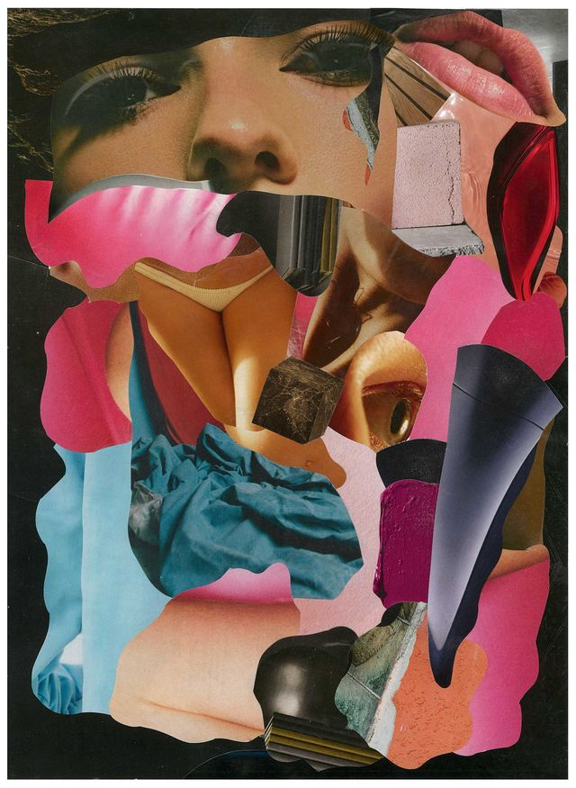 a collage of images of a woman's face and anatomy, fabric, and pigment