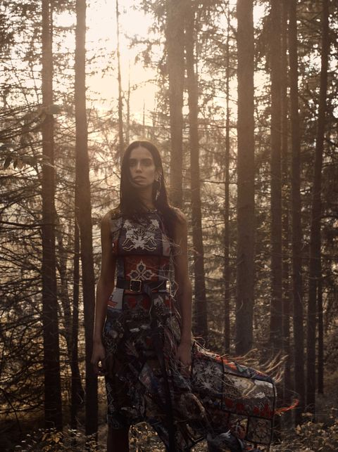 People in nature, Forest, Tree, Natural environment, Beauty, Sunlight, Fashion, Dress, Woodland, Old-growth forest,