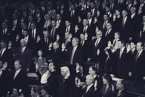 at the swearing in of the 116th united states congress, the gop side of the aisle was mostly suits, and mostly men