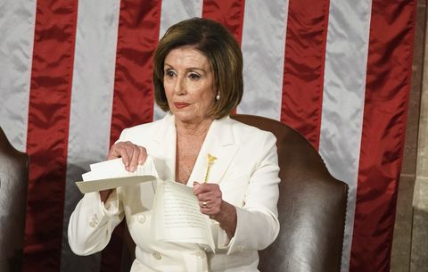 speaker of the us house of representatives nancy pelosi rips a copy of us president donald trumps speech after he delivers the state of the union address at the us capitol in washington, dc, on february 4, 2020 photo by mandel ngan  afp photo by mandel nganafp via getty images