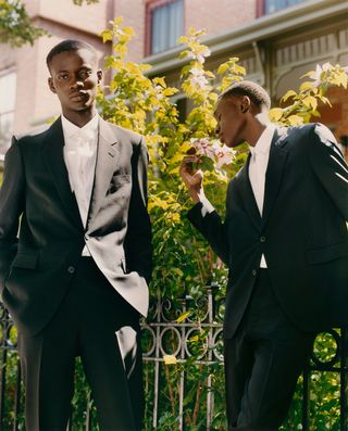 two male models in suits
