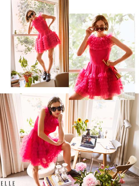 emma corrin in pink dress