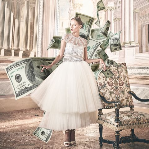 fashion forward bride in italian villa with dollar bills designed around her