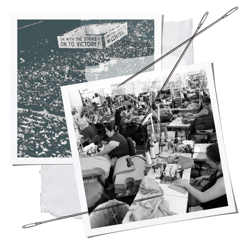 """collage with two pictures, one showing a crowded auditorium with a banner overhead that reads """"on with the strike on to victory,"""" and other of a cramped garment factory"""