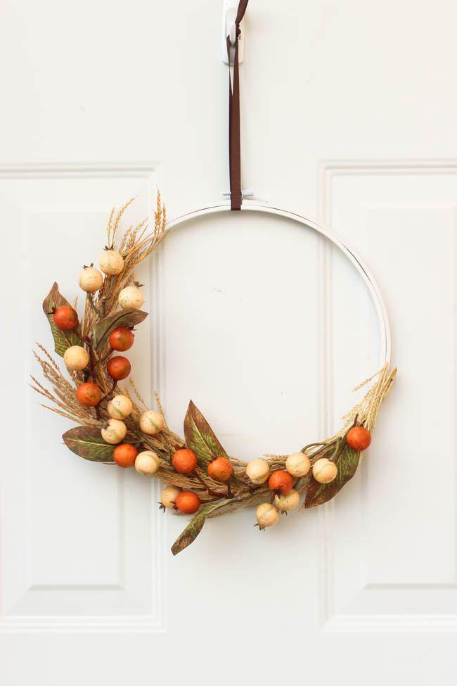 autumn embroidery hoop wreath