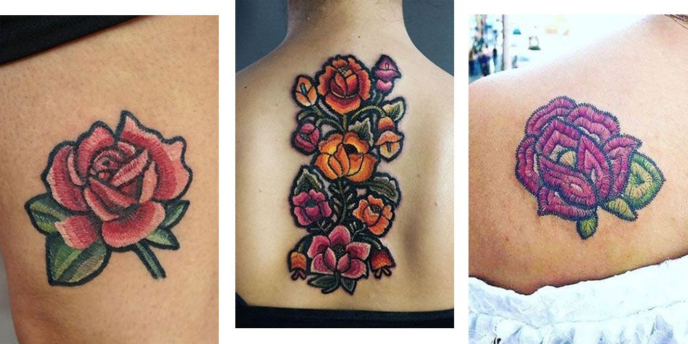 Embroidery tattoos are the new arts and crafts ink trend that's seriously pretty