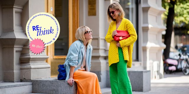 stockholm, sweden   august 28 emili sindlev wearing yellow knit cardigan, green wide leg pants, burberry clutch and jeannette madsen wearing orange midi skirt, ankle boots, light blue blazer, navy clutch seen during stockholm runway ss19 on august 28, 2018 in stockholm, sweden photo by christian vieriggetty images