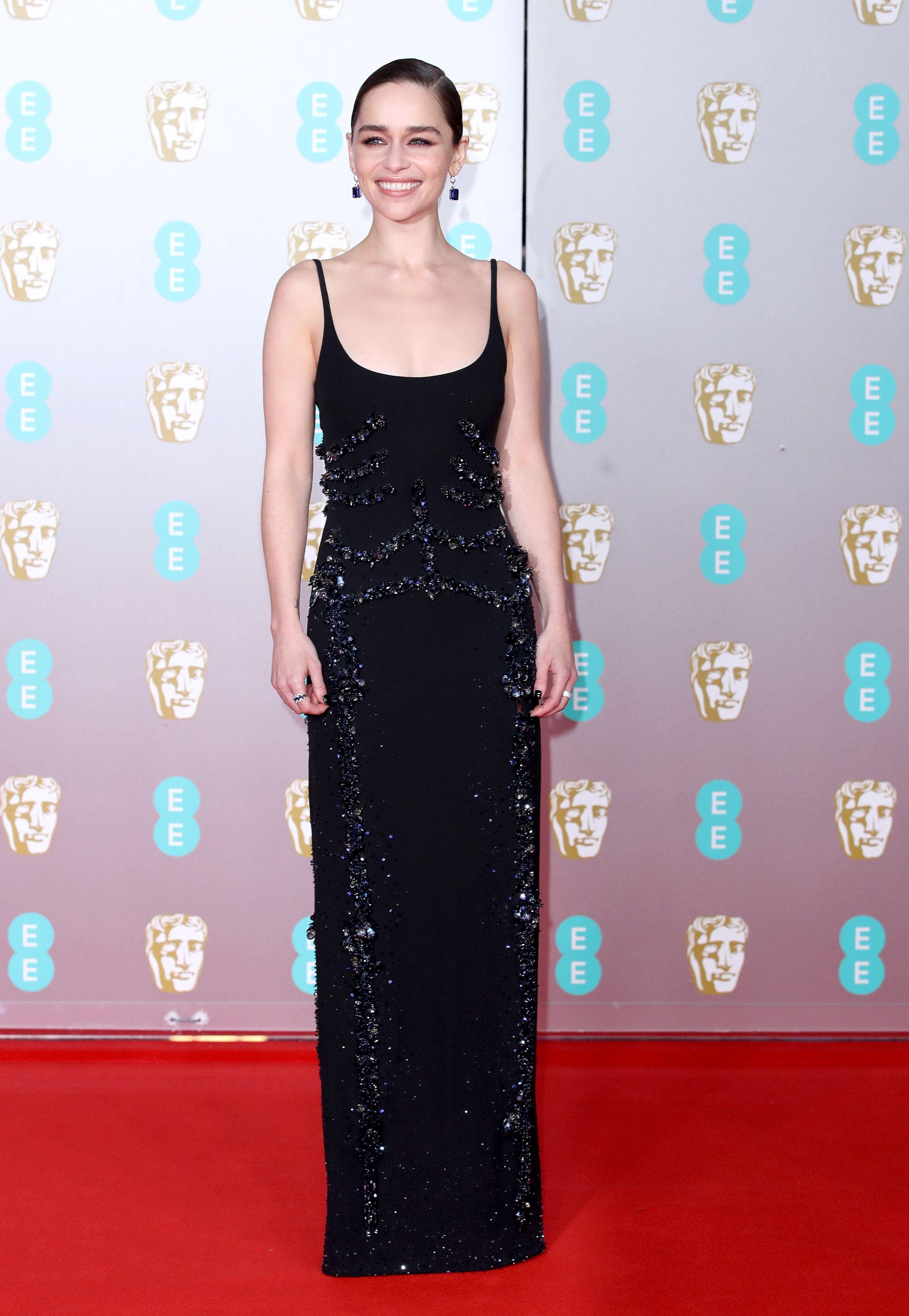 Emilia Clarke Stuns in a Slinky Black Dress on the BAFTA Red Carpet