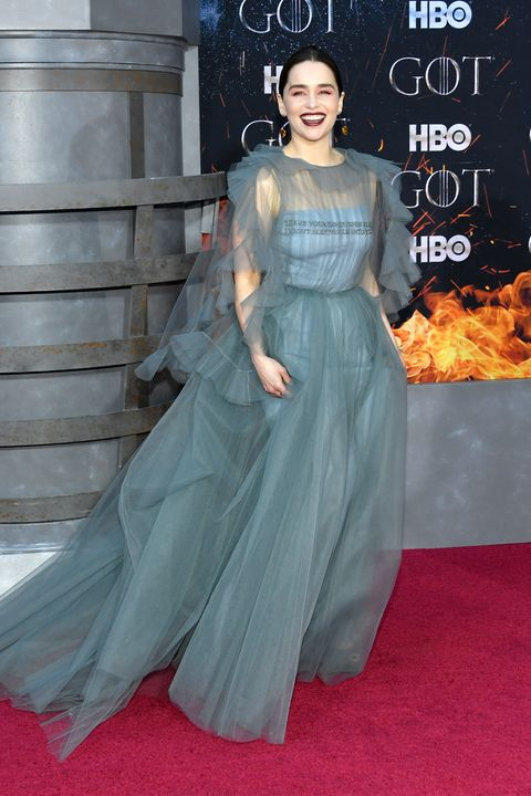 Emilia Clarke Wears Blue Chiffon Dress At The Game Of Thrones