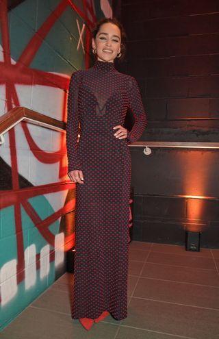 emilia clarke polka dot dress