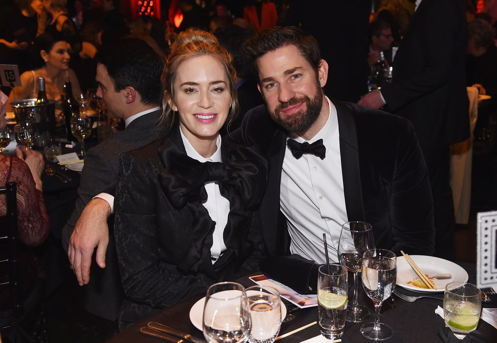 Emily Blunt and John Krasinski Wore Matching Suits to the Writers