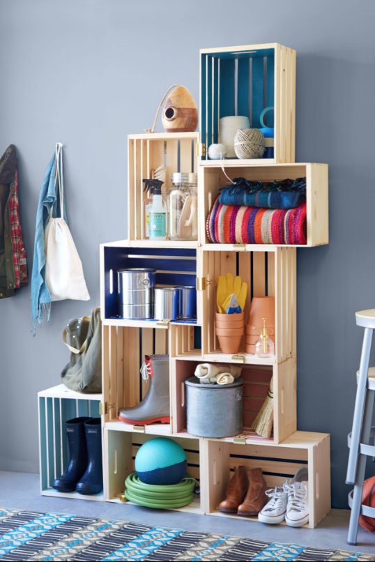 mudroom wood crate organizer and shelves