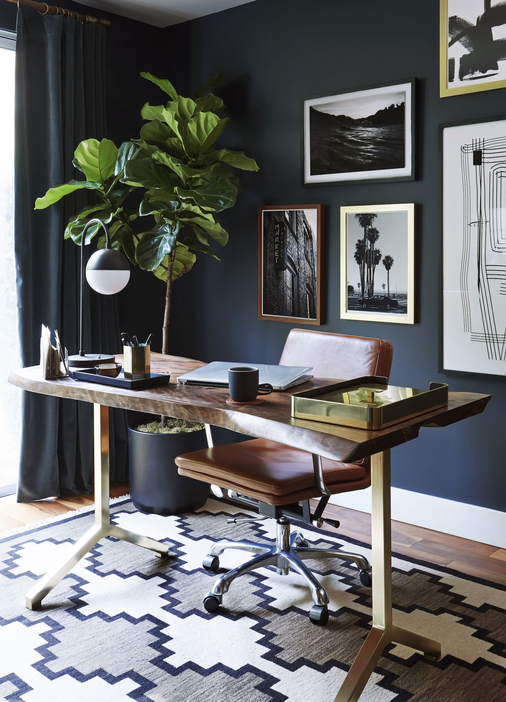 Blue home office Small Image Elle Decor Navy Blue And Gold Room Decor House Color Schemes